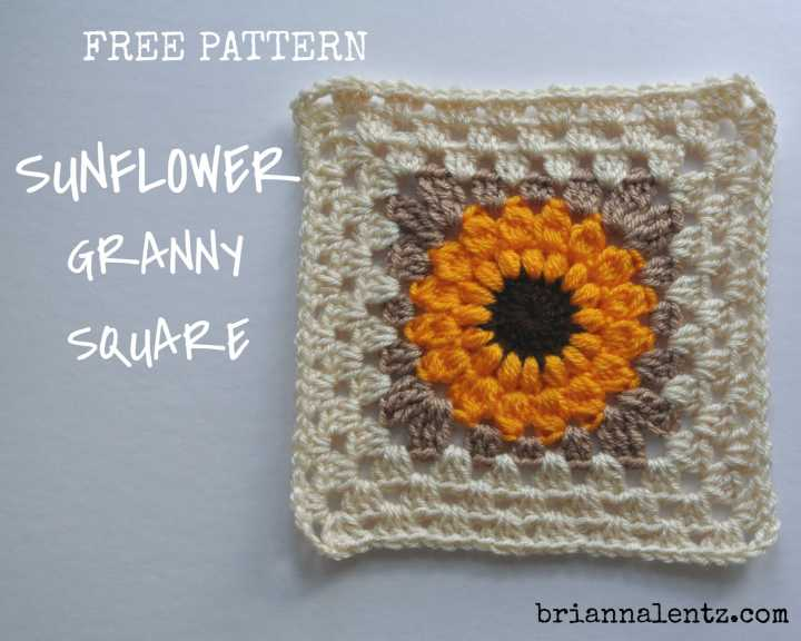 Free Crochet Sunflower Granny Square Pattern