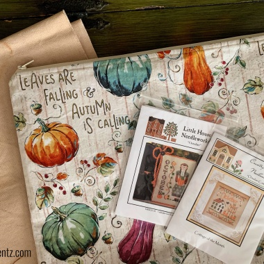 Harvest Zipper Pouch and Project Bag Photo with cross stitch materials