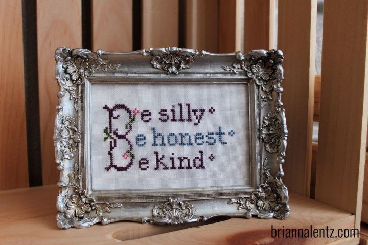 How to Cross Stitch Brianna's Version of Lizzie Kate's Be Silly Snippet Design