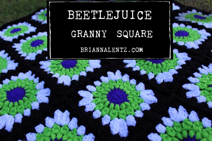 Beetlejuice Inspired Granny Square – Free Crochet Pattern