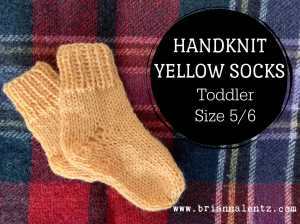 Handknit Yellow Socks 1