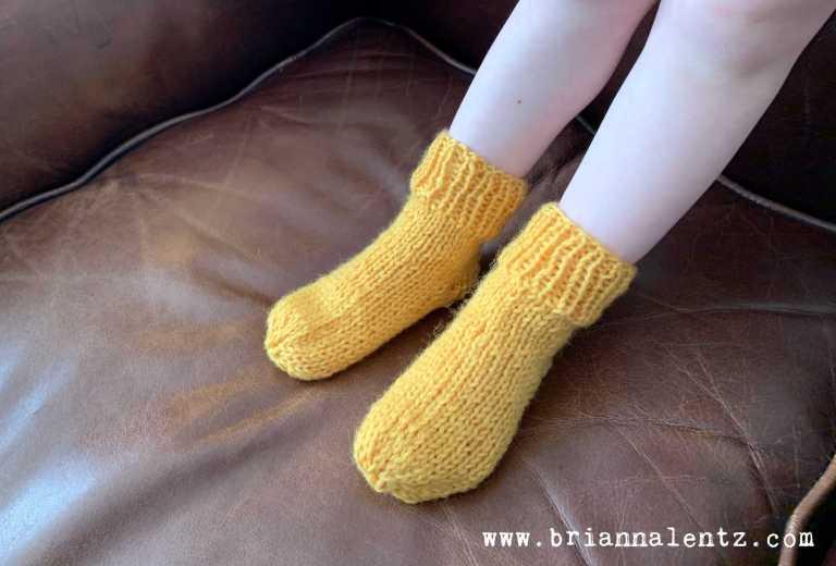 Handknit Yellow Socks 2