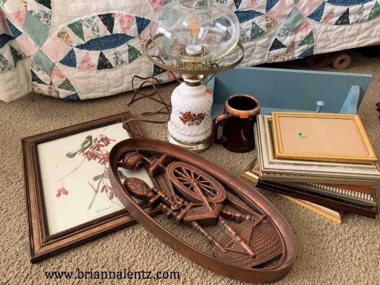 Thrift Haul with Burwood, Spinning Wheel, Milk Glass and Frames