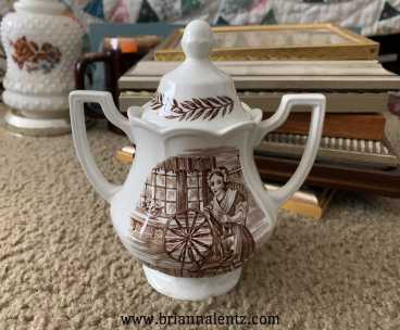 Spinng Wheel Sugar Royal Staffordshire Colonial Ironstone By J&G Meakin England